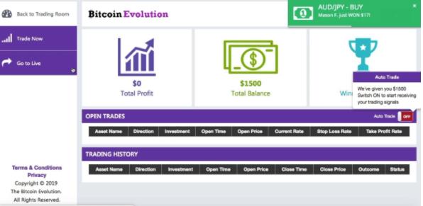 bitcoin evolution compte demo